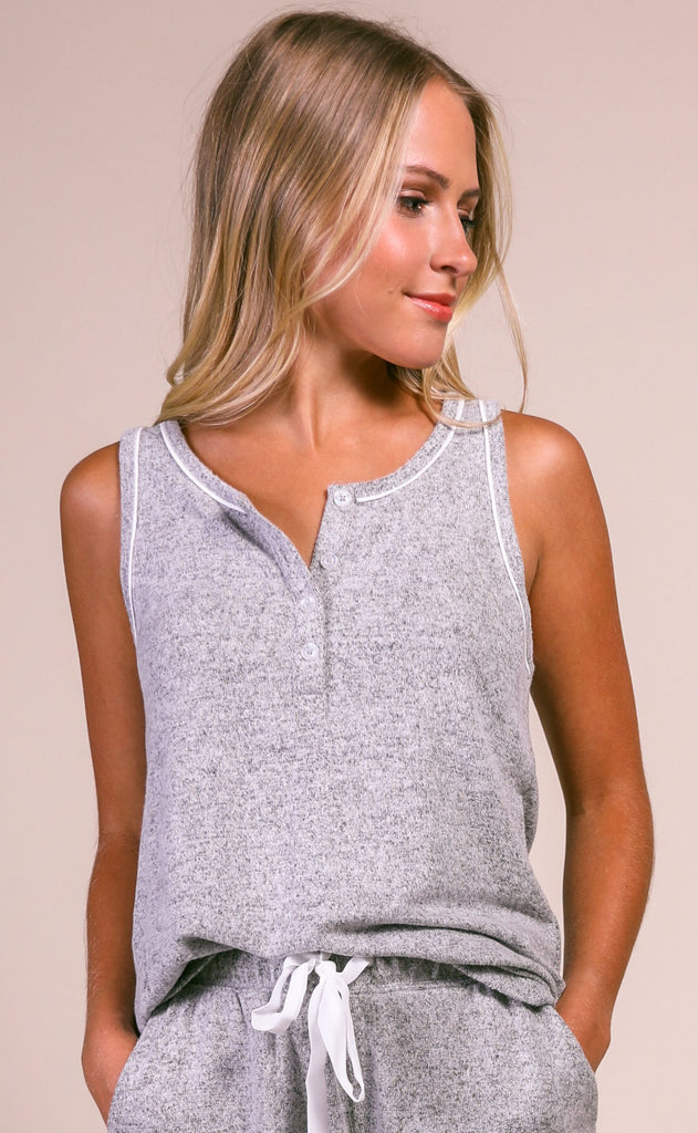 z supply: the lux henley tank - heather gray