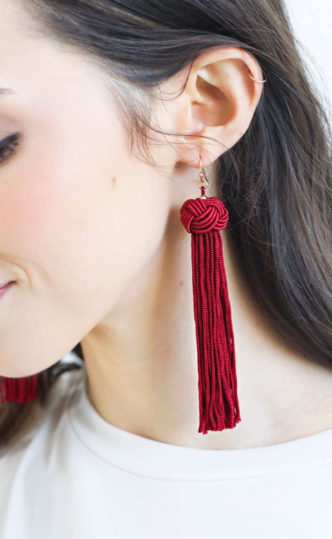 knotted tassel earrings - burgundy