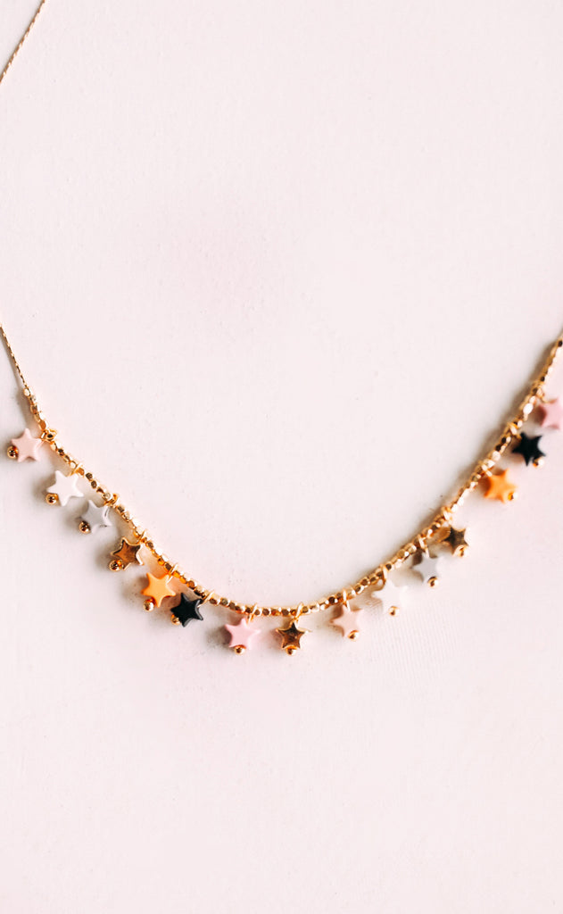 disco fever necklace - nude multi