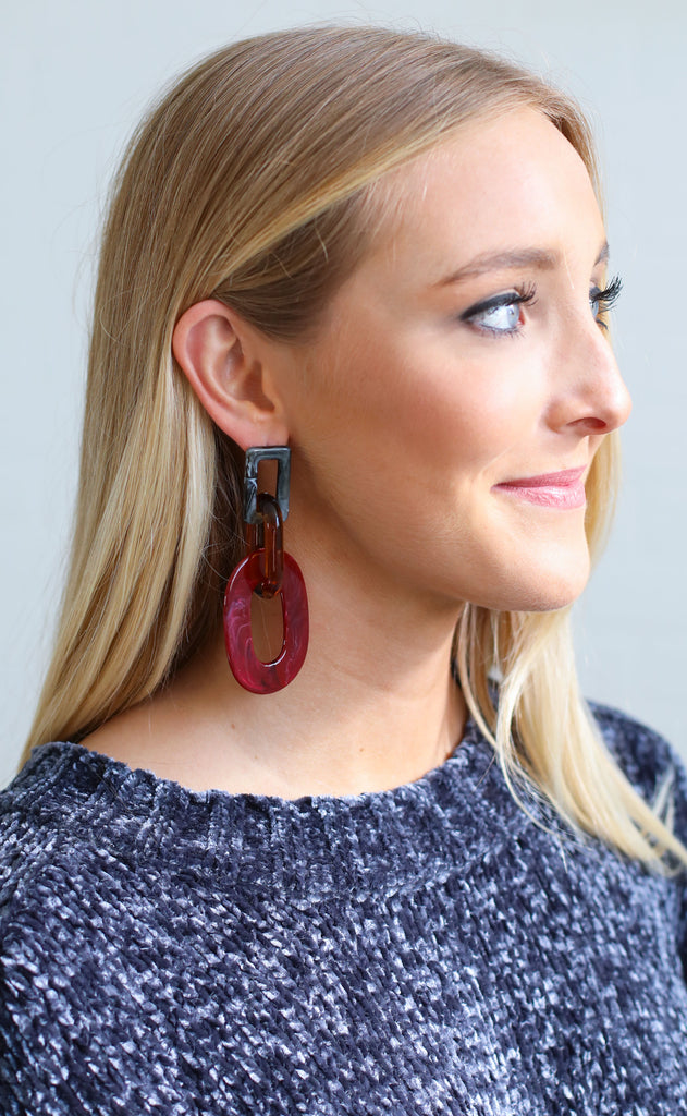 chain reaction statement earrings