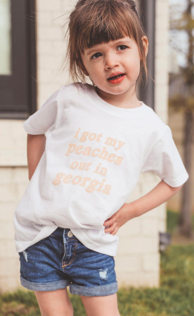 friday + saturday: peaches kids t shirt