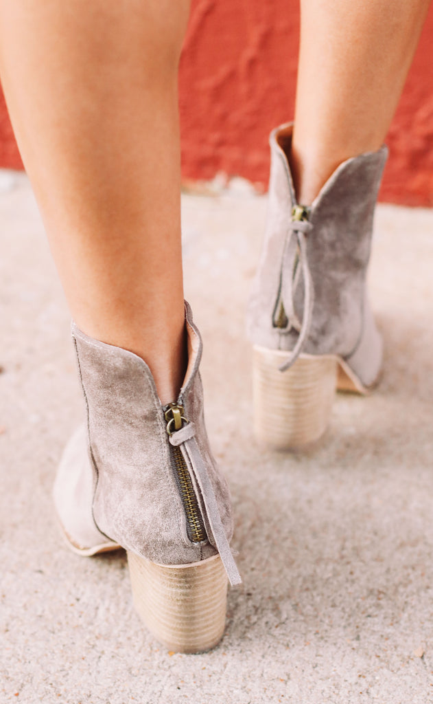 all the feels suede booties