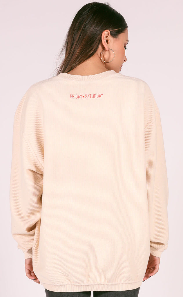friday + saturday: kinda naughty kinda nice corded sweatshirt