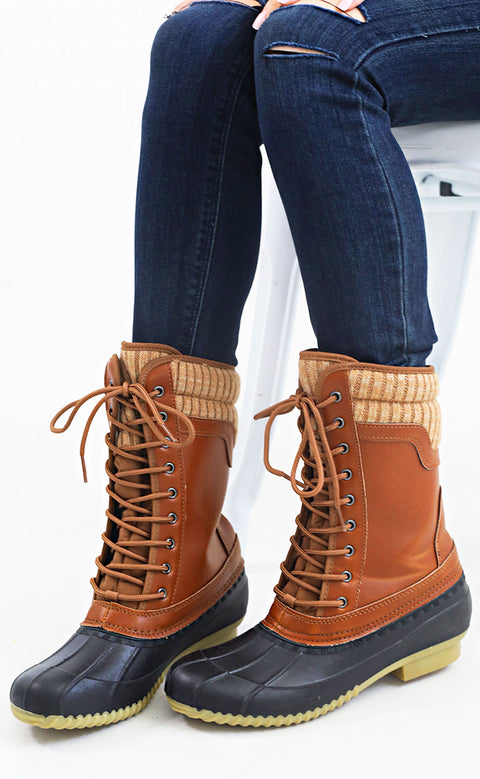cabin fever lace up boot - cognac