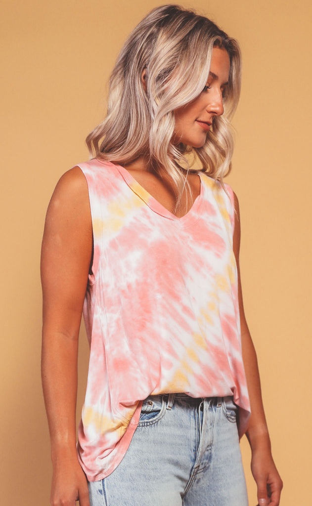 blurred lines tie dye v-neck tank - sunset