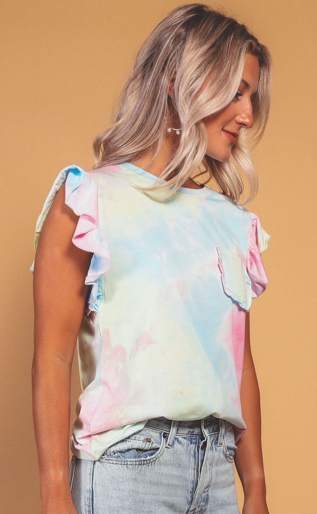 electric feels tie dye ruffle tee