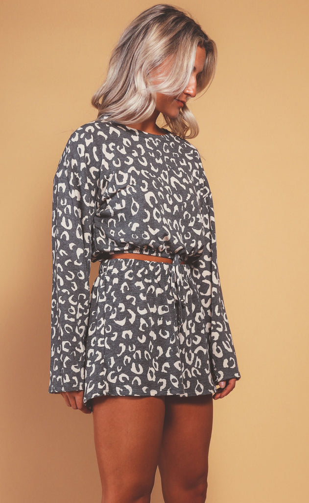 meow two piece set - charcoal
