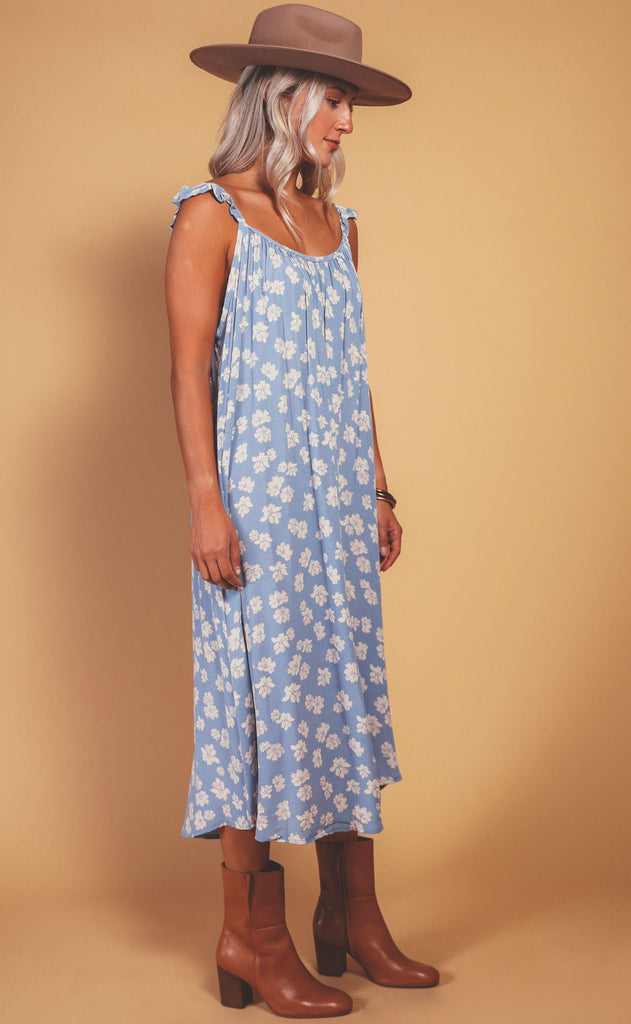 autumn day printed dress - blue