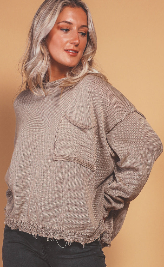 easy on the eyes oversized sweater - olive grey