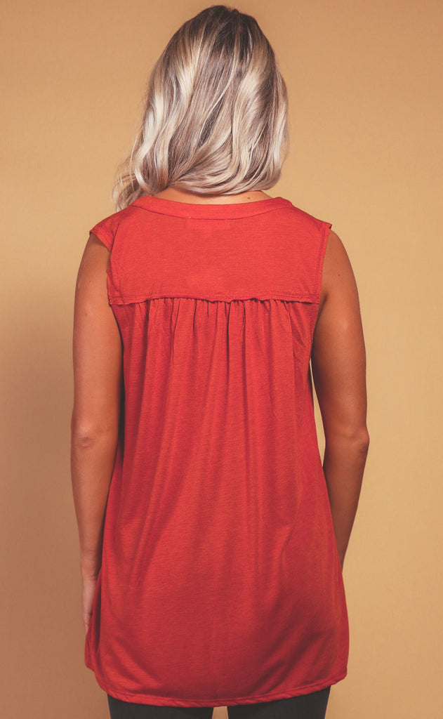 fall feeling tank top - rust