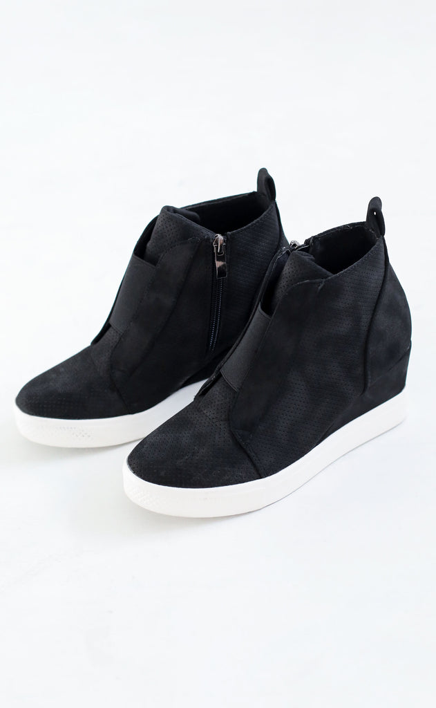 street chic sneaker wedges - black