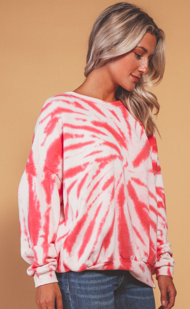 neon lights tie dye sweatshirt - hot pink