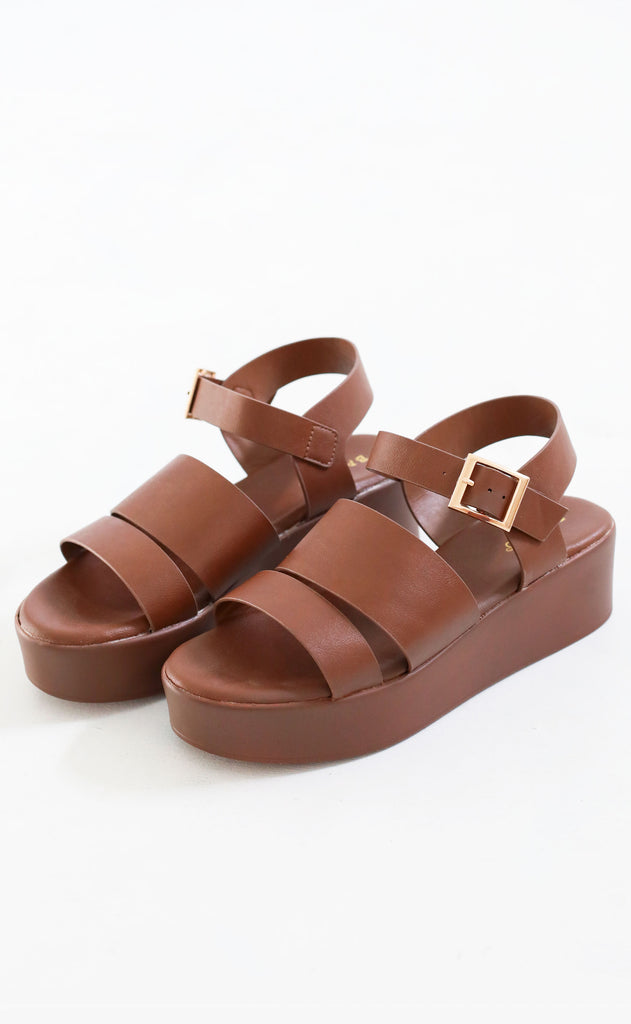 walk with me platform sandal - brown