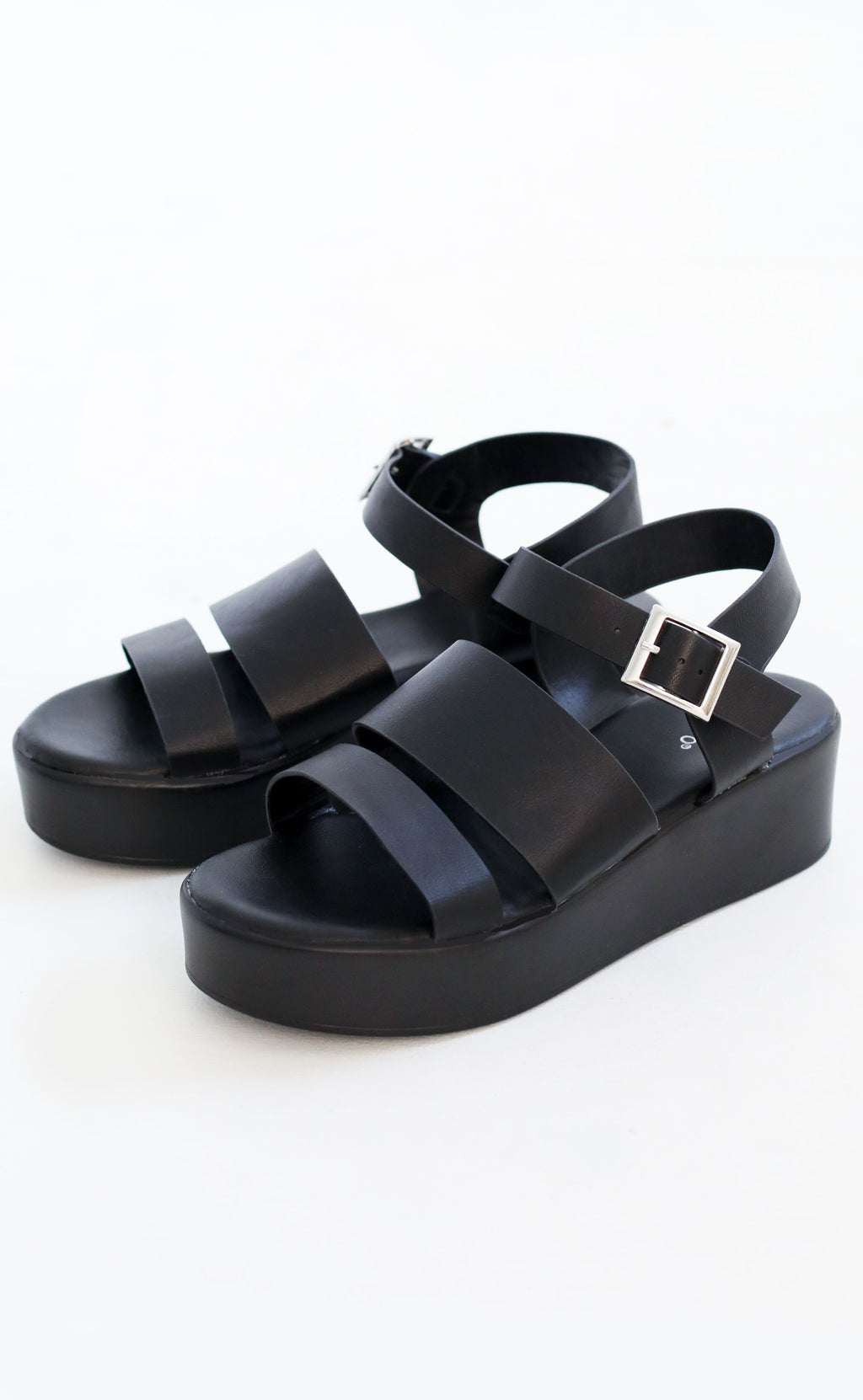 walk with me platform sandal - black