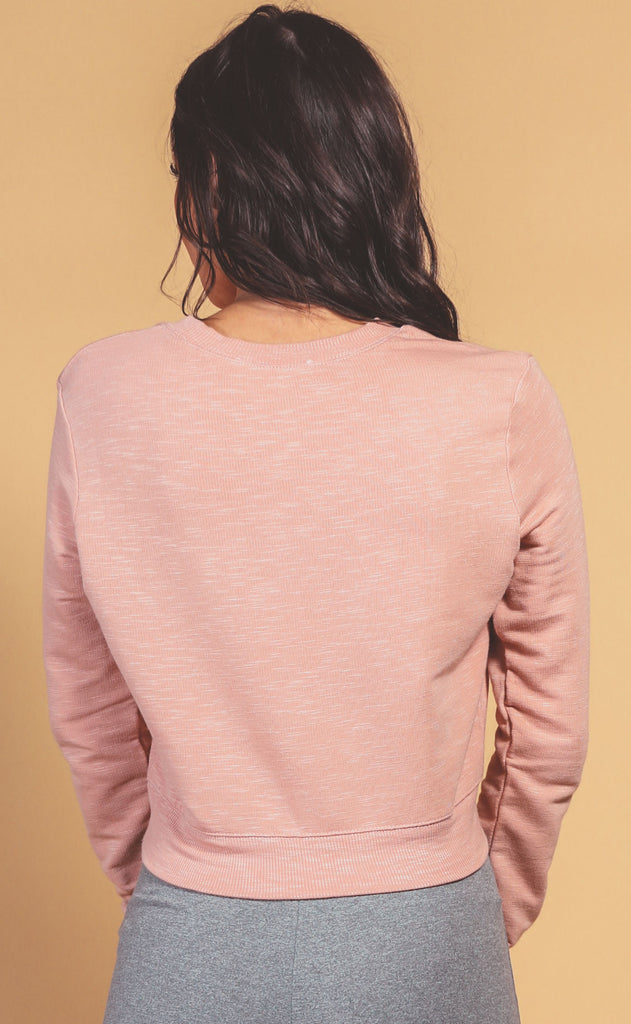 run around crop sweatshirt - dusty rose