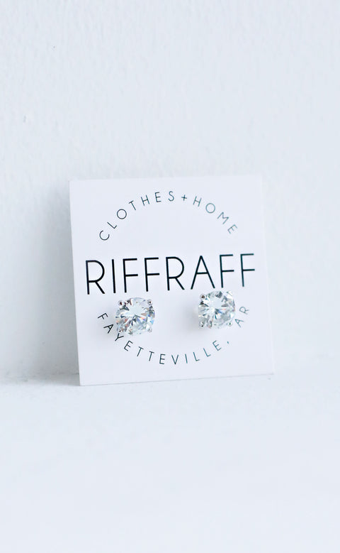 large sparkle stud earrings - silver