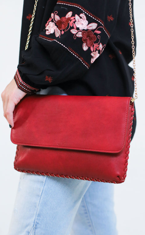 whipstitch fold over clutch - red