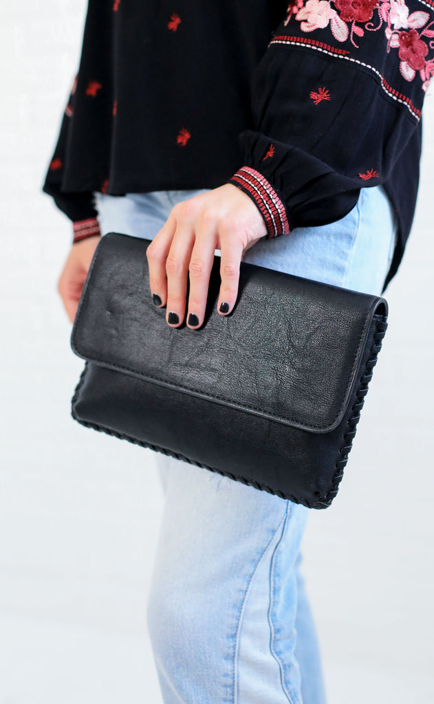 whipstitch fold over clutch - black