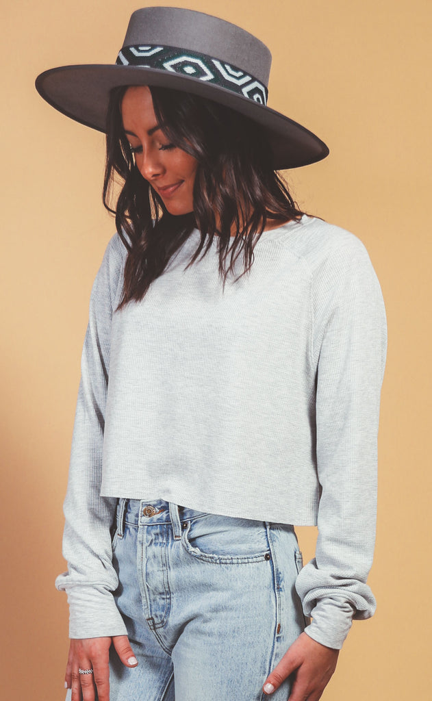 waffle knit raglan crop - heather grey