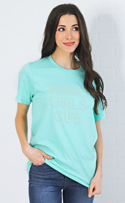 friday + saturday: smart girls club t shirt - mint green