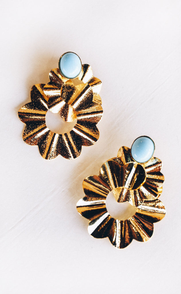 double round earrings - turquoise