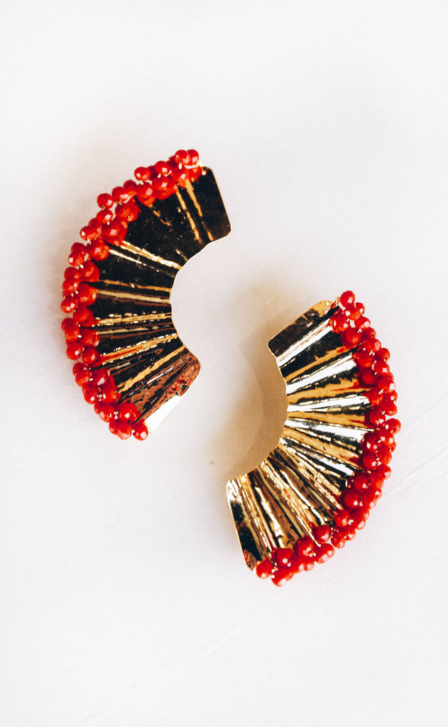 abanico beaded earrings - red
