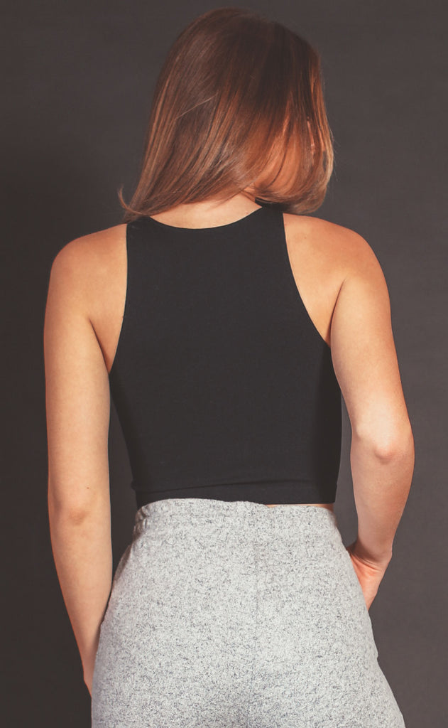 high ribbed sleeveless crop top - black