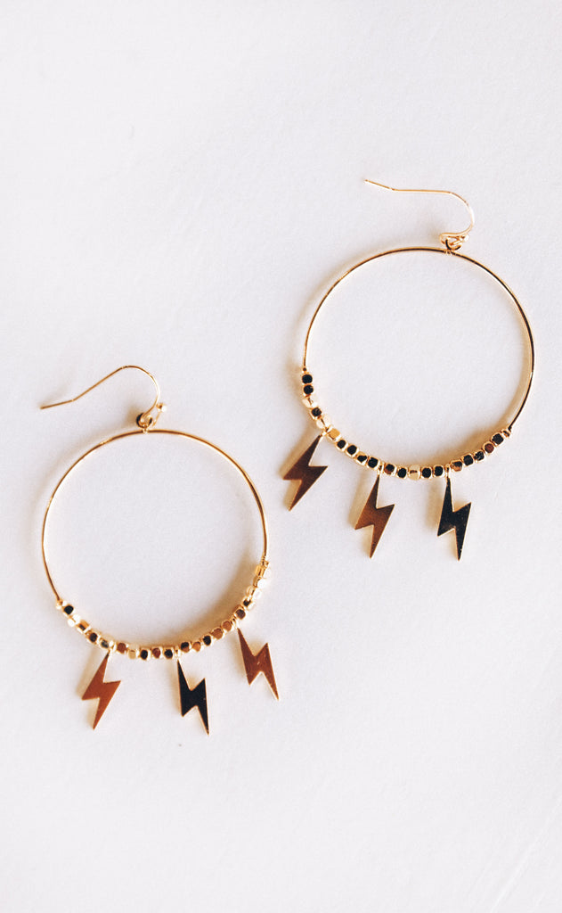 lightning strike hoop earrings