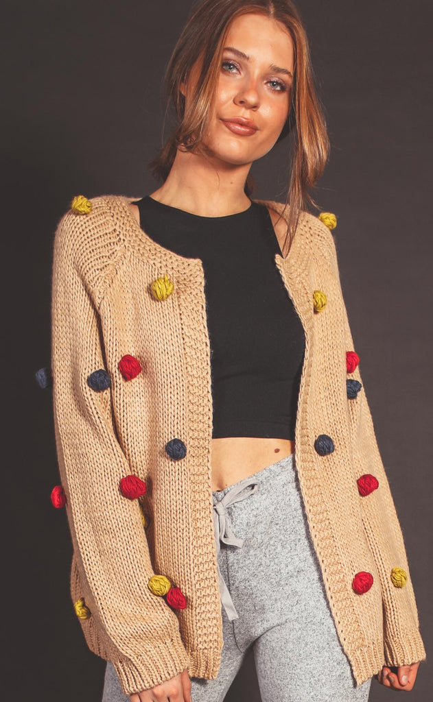 time to party pom pom cardigan - taupe