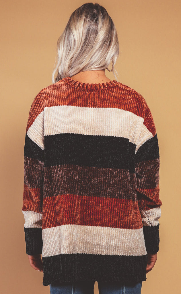 show me your mumu: jesse sweater - stayin' alive stripe chenille