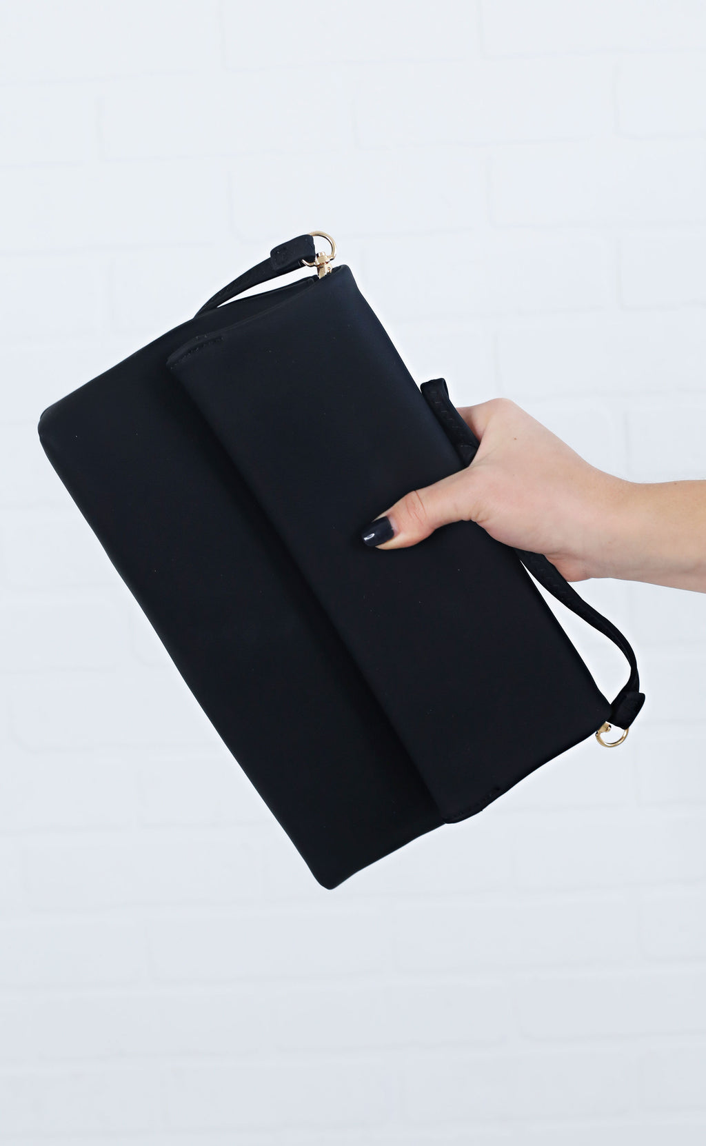 grab and go foldover clutch - black