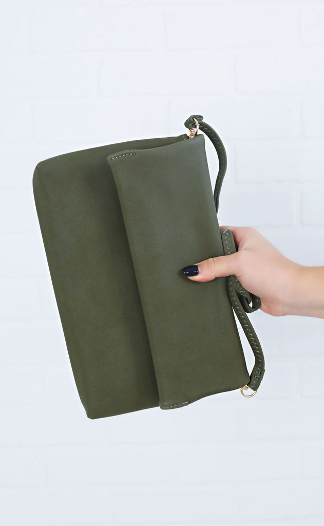 grab and go foldover clutch - olive