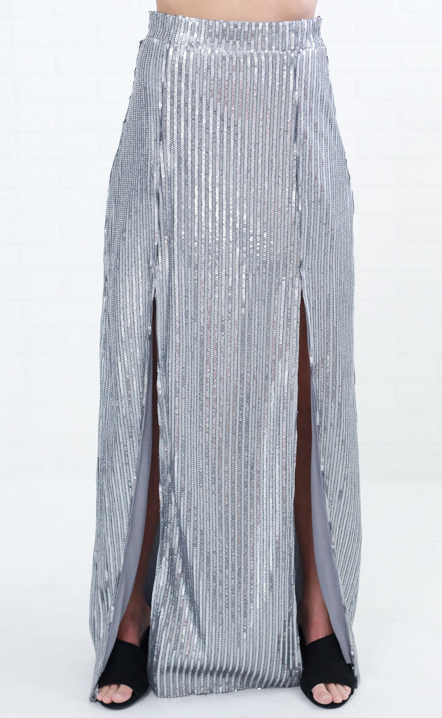show me your mumu: mick double slit skirt - silver sequins