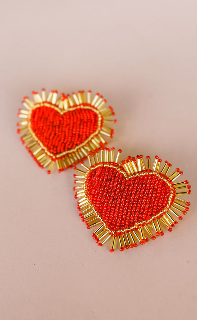 treasure jewels: spiked heart earrings