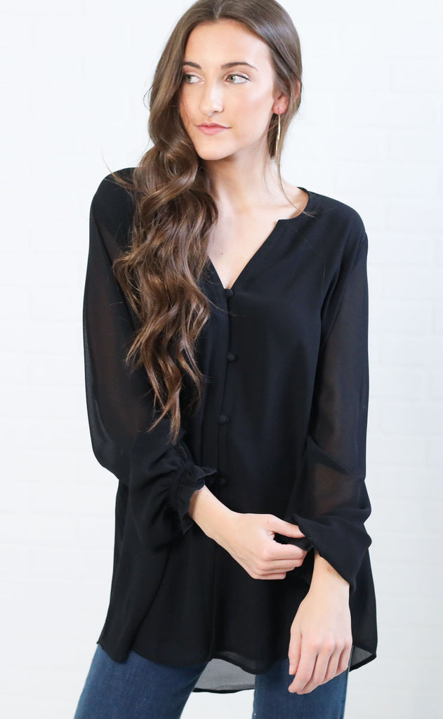 show me your mumu: paxton tunic - black chiffon