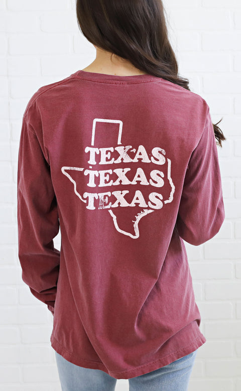 charlie southern: throwback state long sleeve t shirt - texas