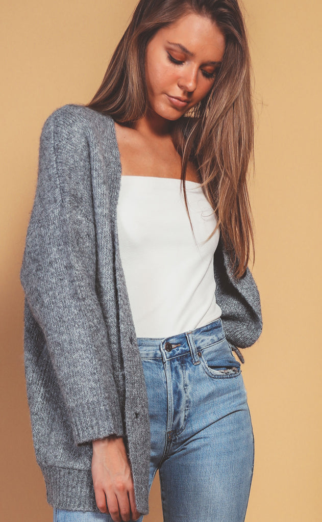 let's chill chunky cardigan - grey