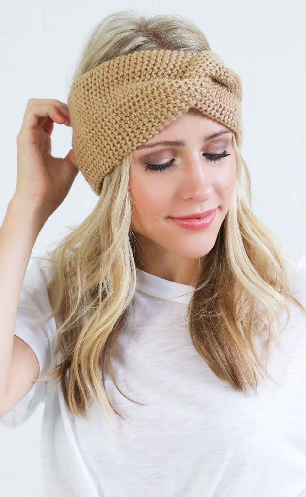 cute + cozy knit headband - camel