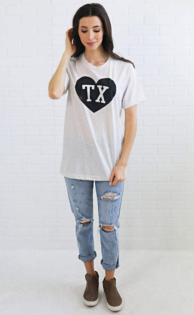 charlie southern: initial heart t shirt - texas