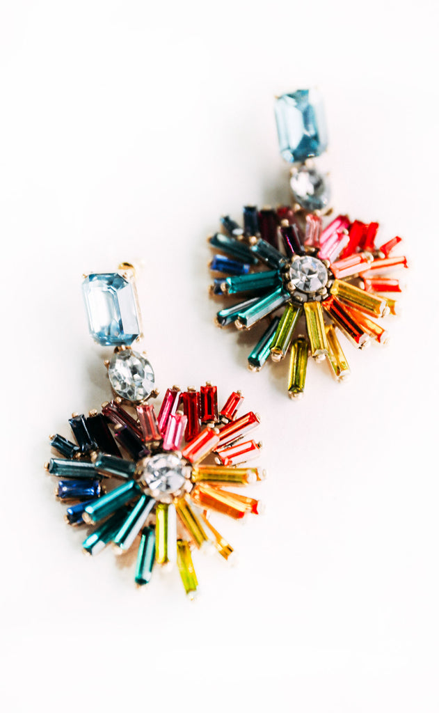 glitz embellished earrings - multi
