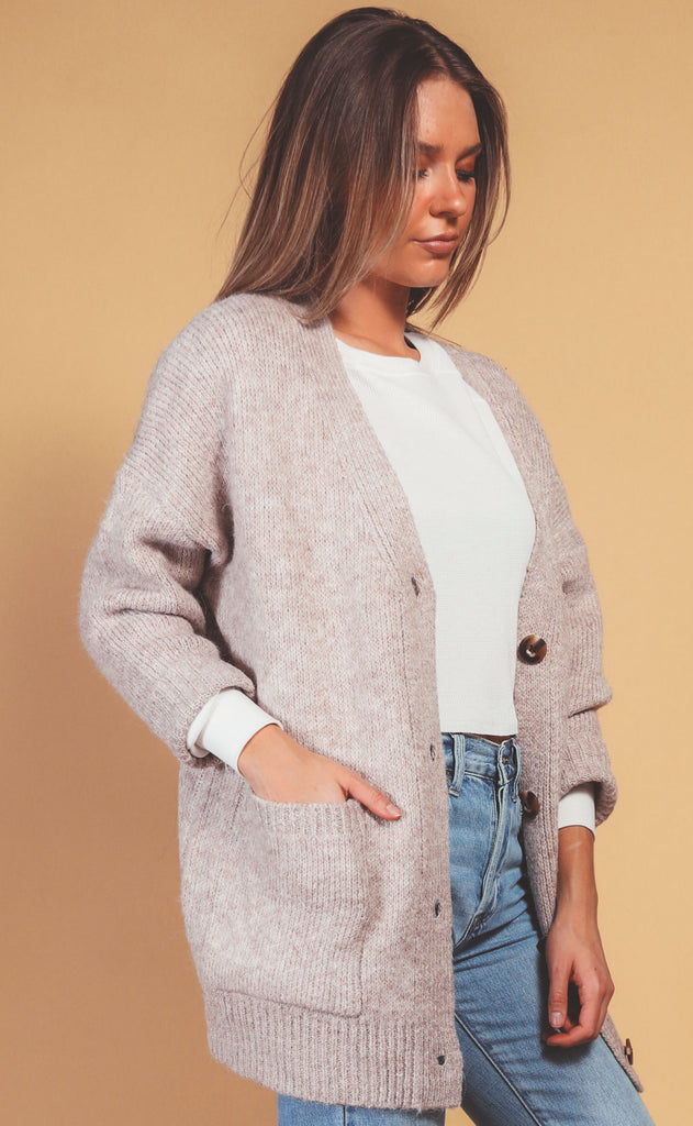let's chill chunky cardigan - latte