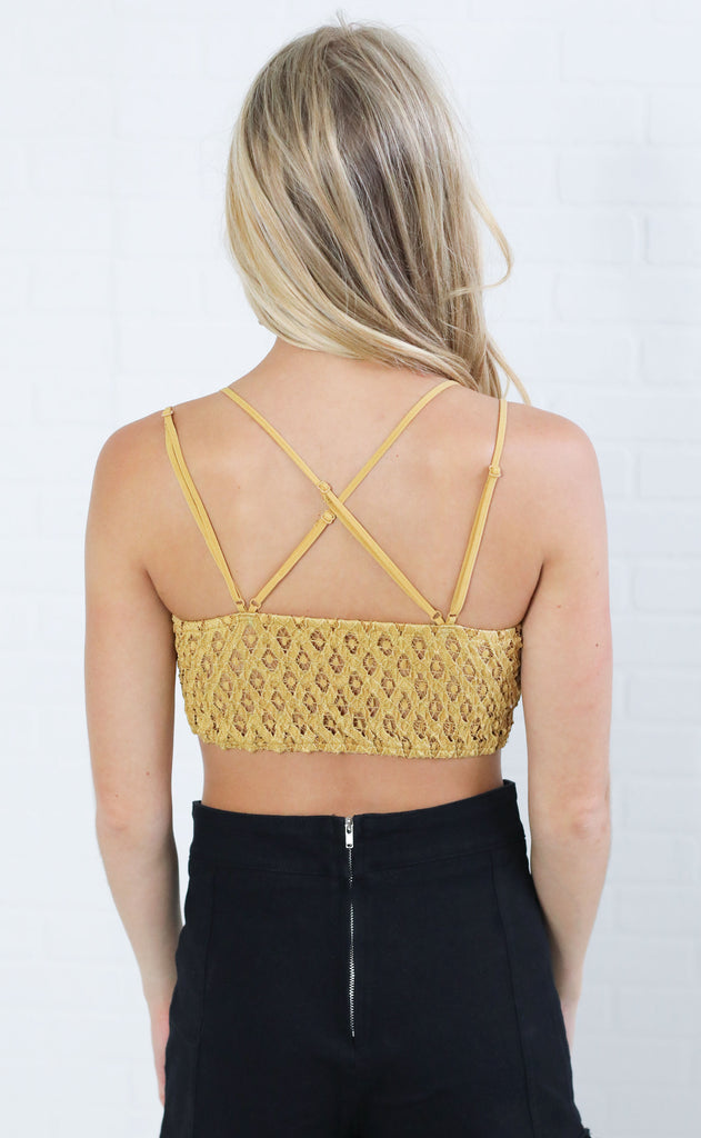 lovely in lace embroidered bralette - mustard