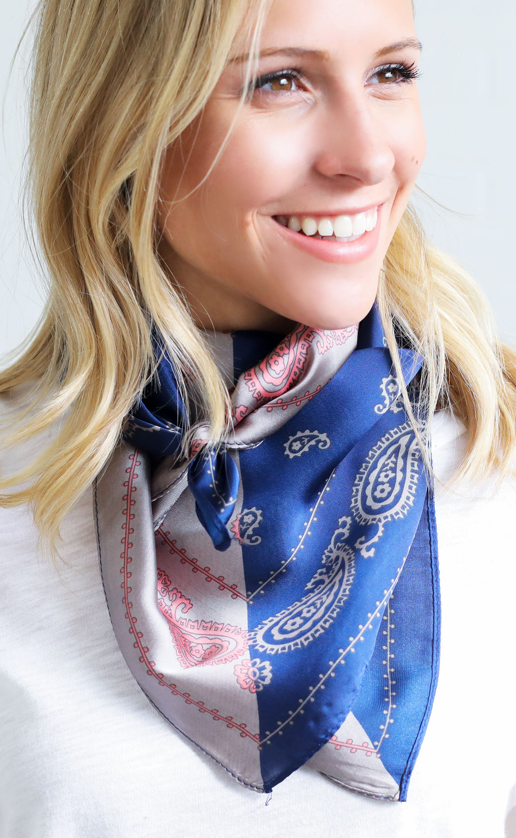 printed scarf - navy/grey