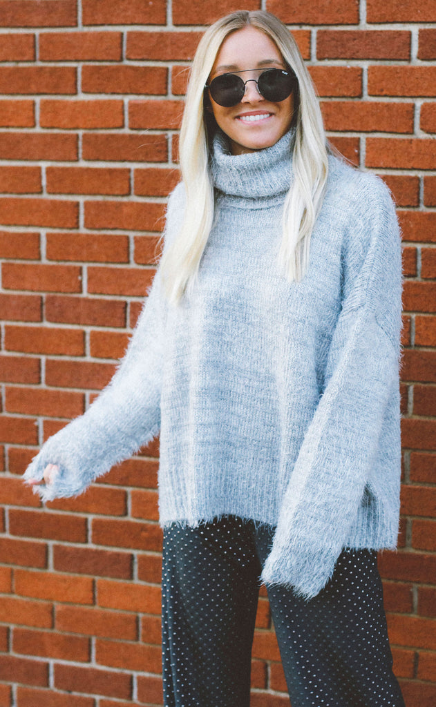 show me your mumu: fatima turtleneck sweater - fuzzy vail knit