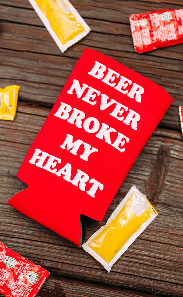 charlie southern: beer never broke my heart skinny drink sleeve - set of 4