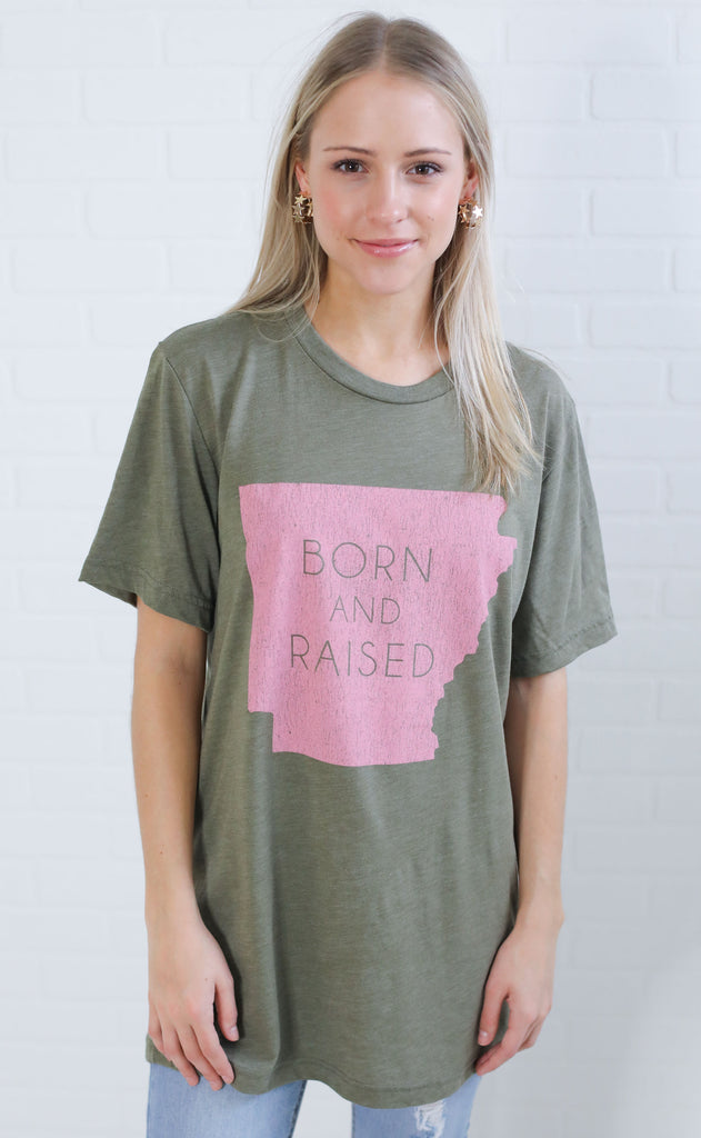 charlie southern: born & raised t shirt - arkansas