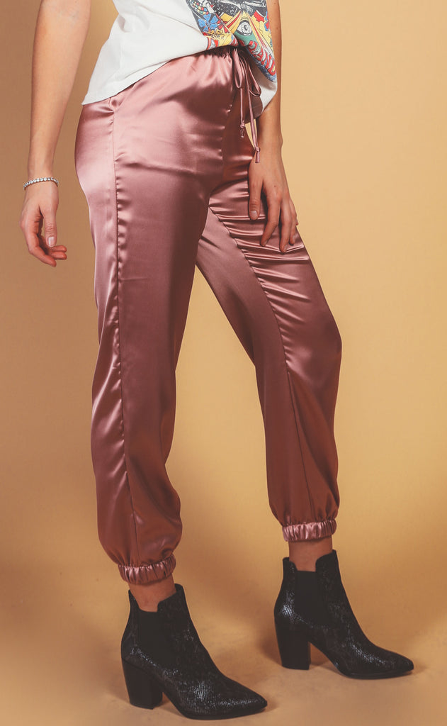 silky satin lounge pant - rose