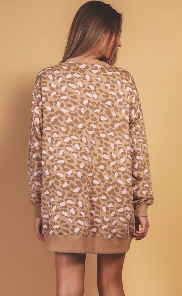 wilder washed leopard tunic - camel