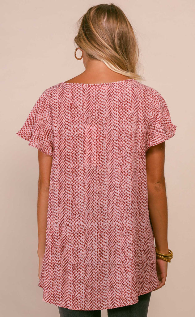 buddylove: avril flutter sleeve v neck top - crimson