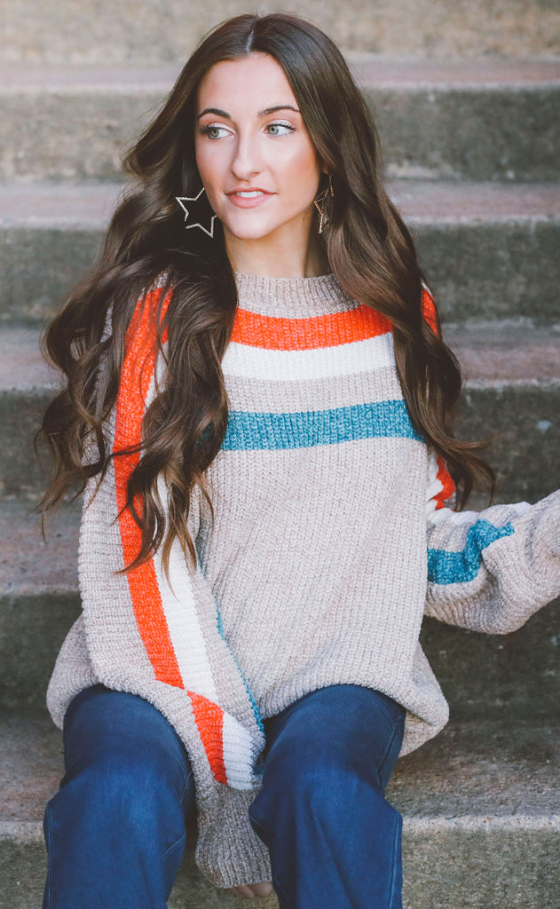 rooftop view striped sweater - taupe